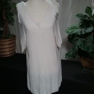 Chicos White Cold Shoulder 3/4 Sl Tunic Dress XL
